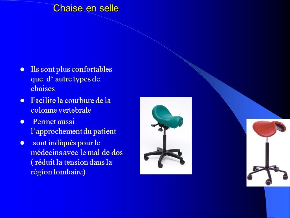 Chaise en selle Ils sont plus confortables que d' autre types de chaises. Facilite la courbure de la colonne vertebrale.