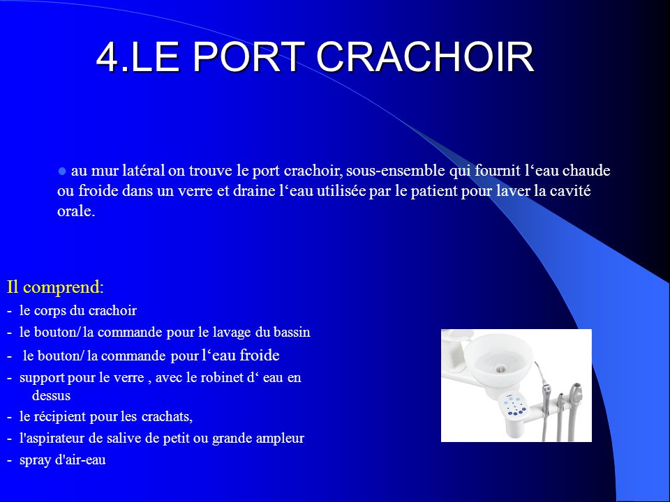 4.LE PORT CRACHOIR Il comprend: