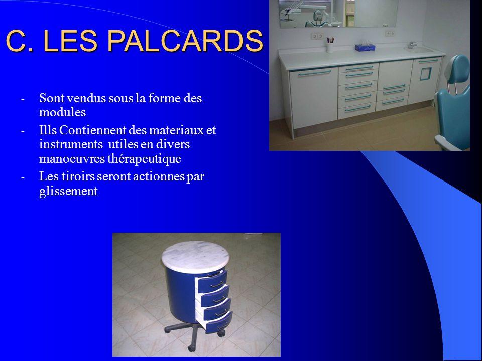 C. LES PALCARDS Sont vendus sous la forme des modules