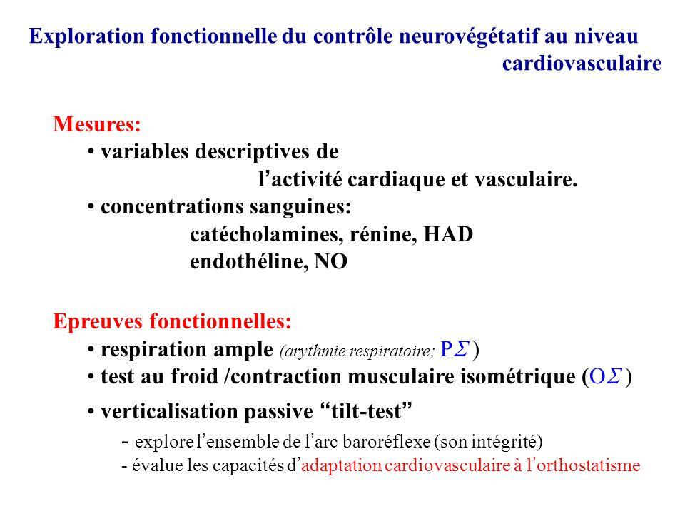 variables descriptives de l'activité cardiaque et vasculaire.