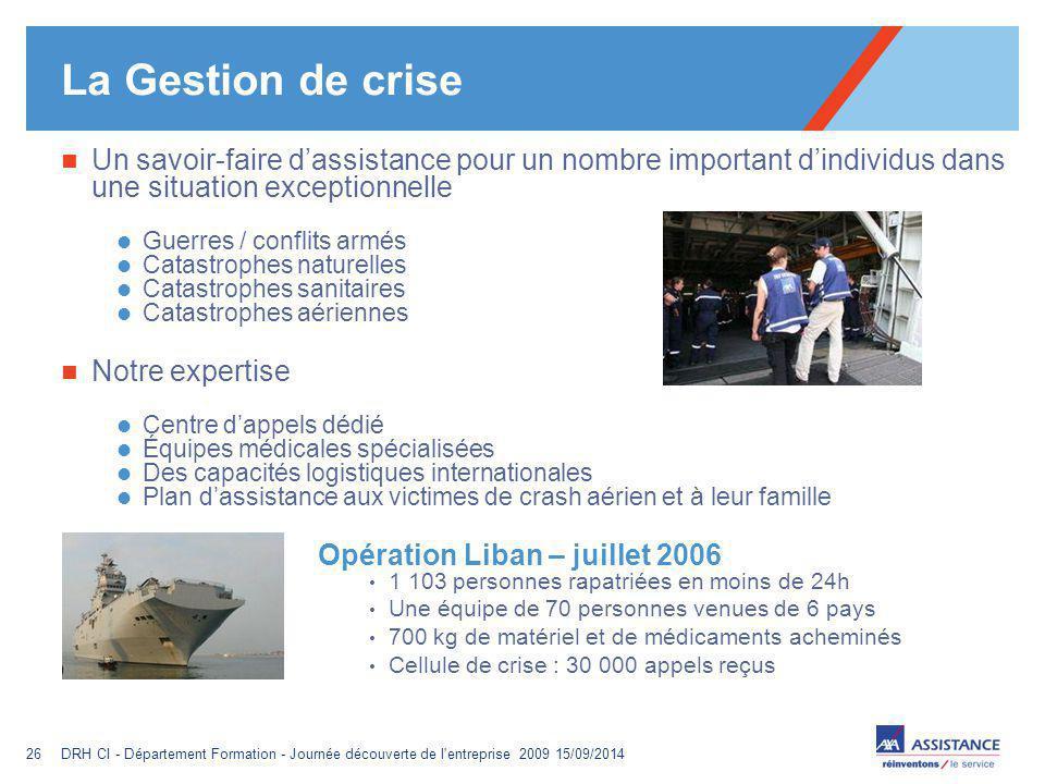 La Gestion de crise Un savoir-faire d'assistance pour un nombre important d'individus dans une situation exceptionnelle.