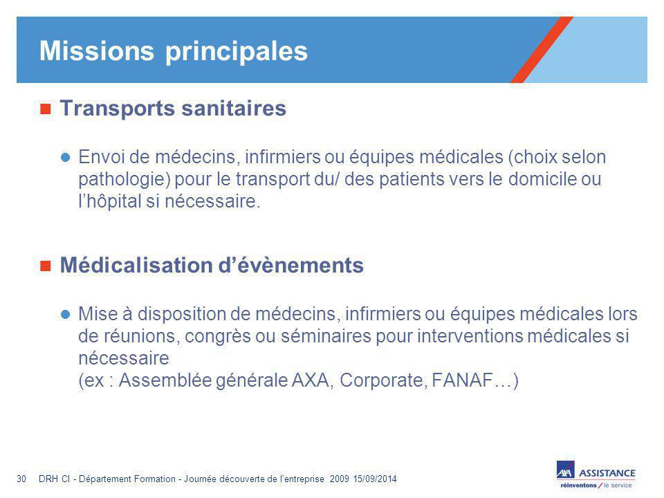 Missions principales Transports sanitaires Médicalisation d'évènements