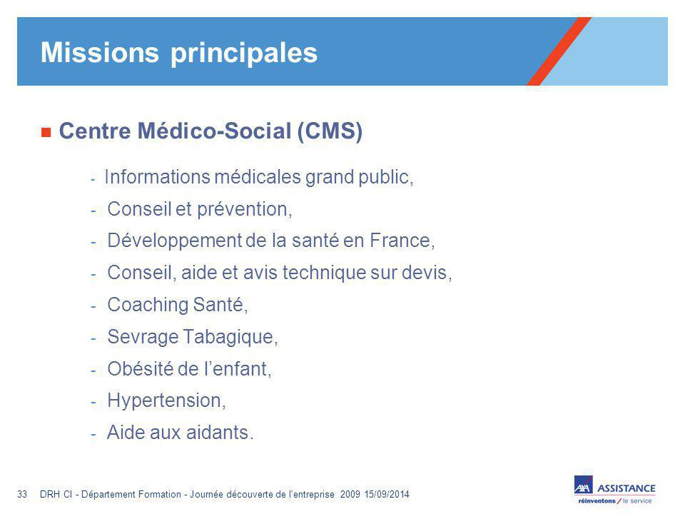 Missions principales Centre Médico-Social (CMS) Conseil et prévention,
