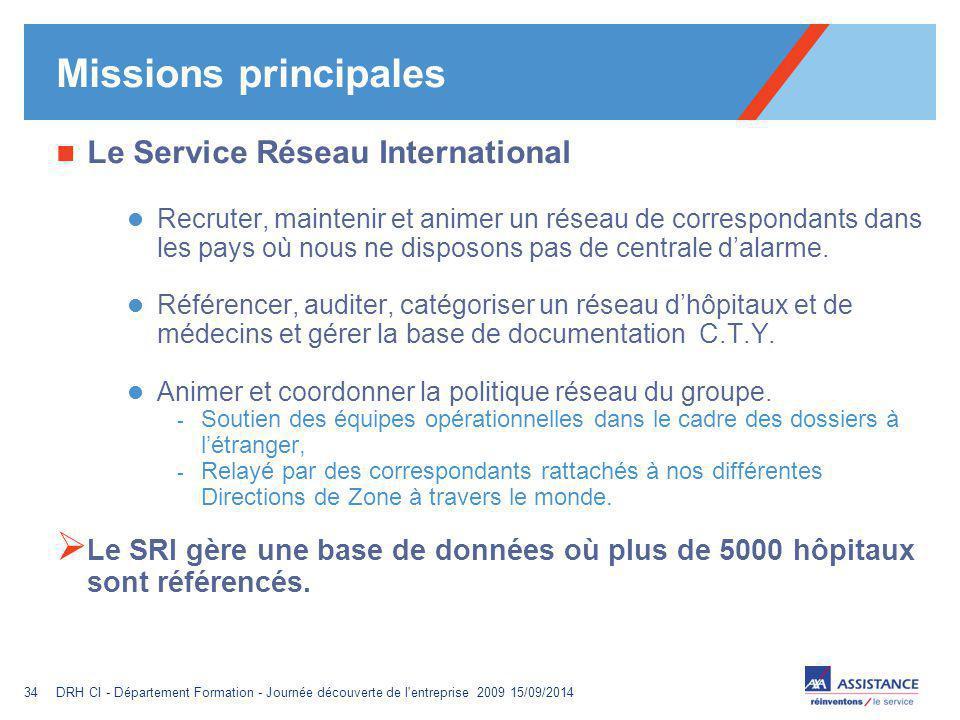 Missions principales Le Service Réseau International