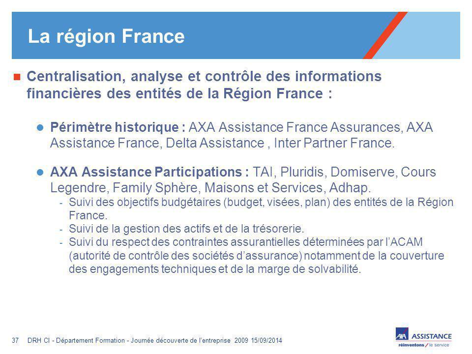 La région France Centralisation, analyse et contrôle des informations financières des entités de la Région France :