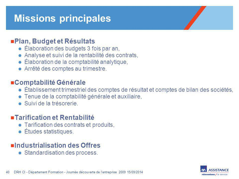 Missions principales Plan, Budget et Résultats Comptabilité Générale
