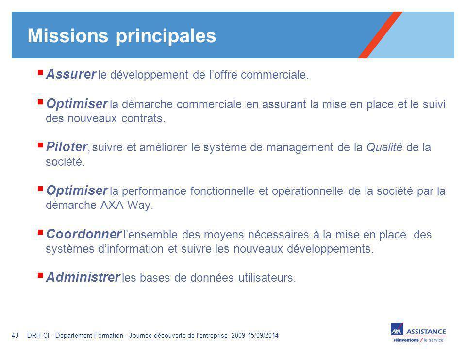 Missions principales Assurer le développement de l'offre commerciale.