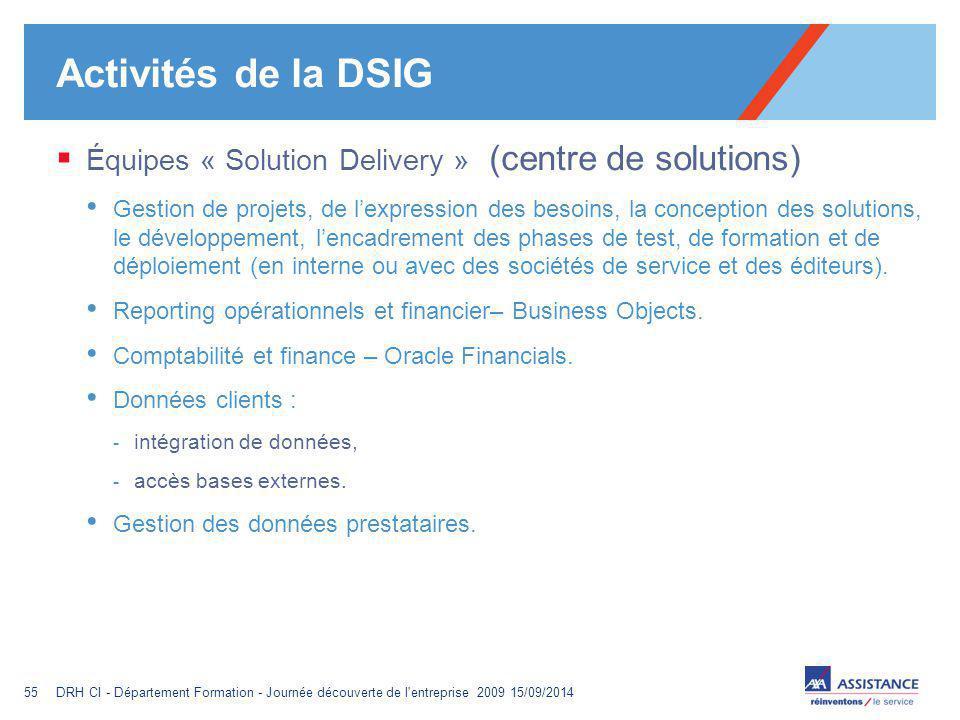 Activités de la DSIG Équipes « Solution Delivery » (centre de solutions)