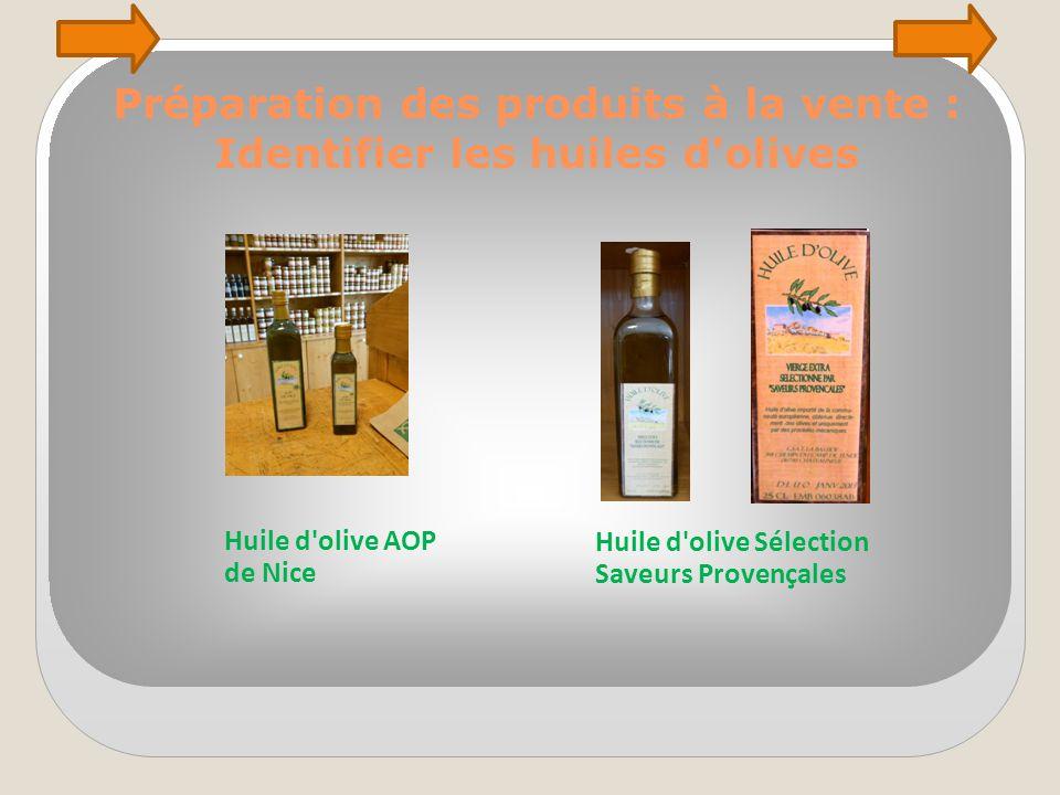 Préparation des produits à la vente : Identifier les huiles d olives