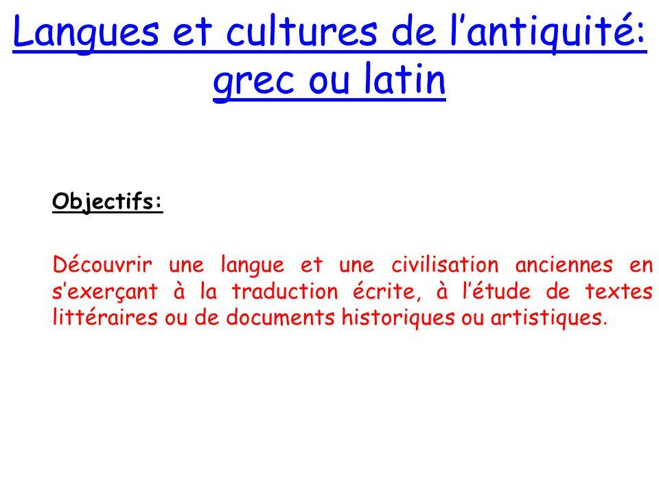 Langues et cultures de l'antiquité: grec ou latin