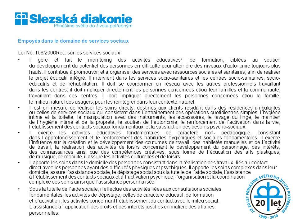 SLEZSKÁ DIAKONIE Empoyés dans le domaine de services sociaux. Loi No. 108/2006Rec. sur les services sociaux.