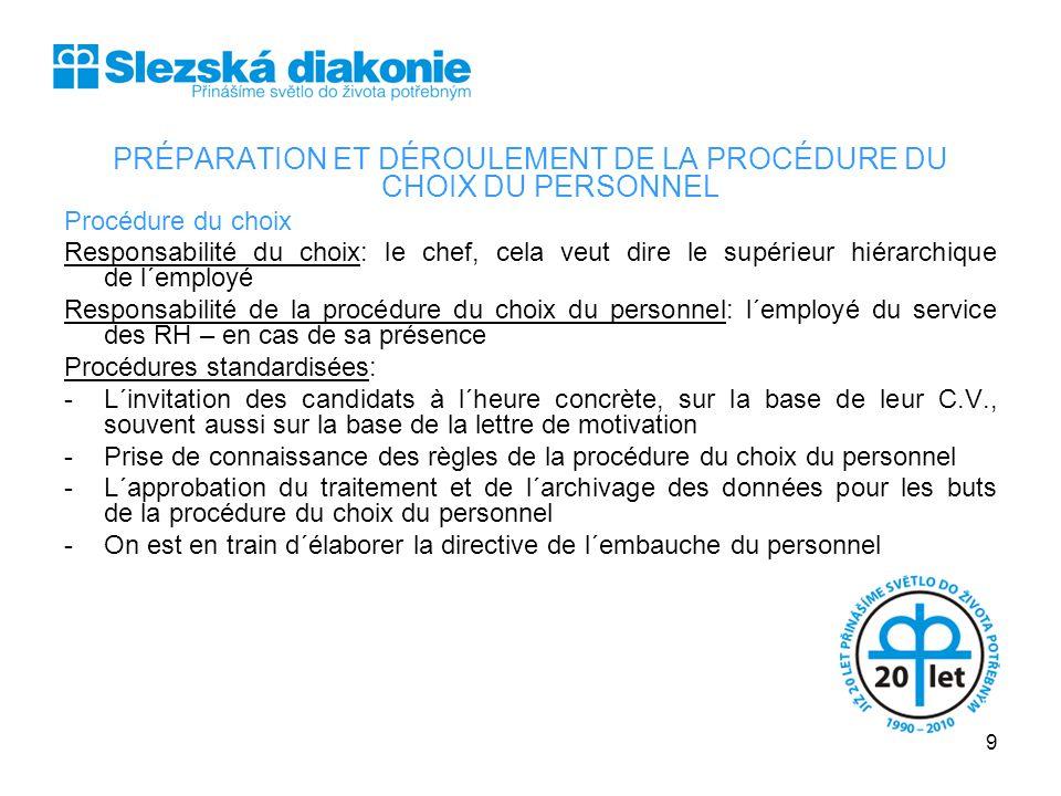 PRÉPARATION ET DÉROULEMENT DE LA PROCÉDURE DU CHOIX DU PERSONNEL