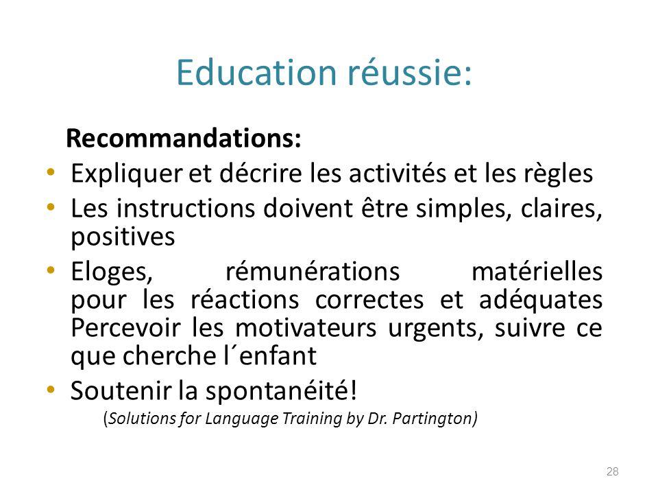 Education réussie: Recommandations: