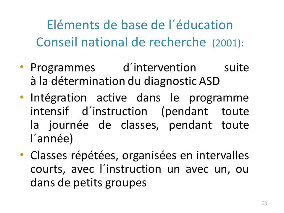 Eléments de base de l´éducation Conseil national de recherche (2001):