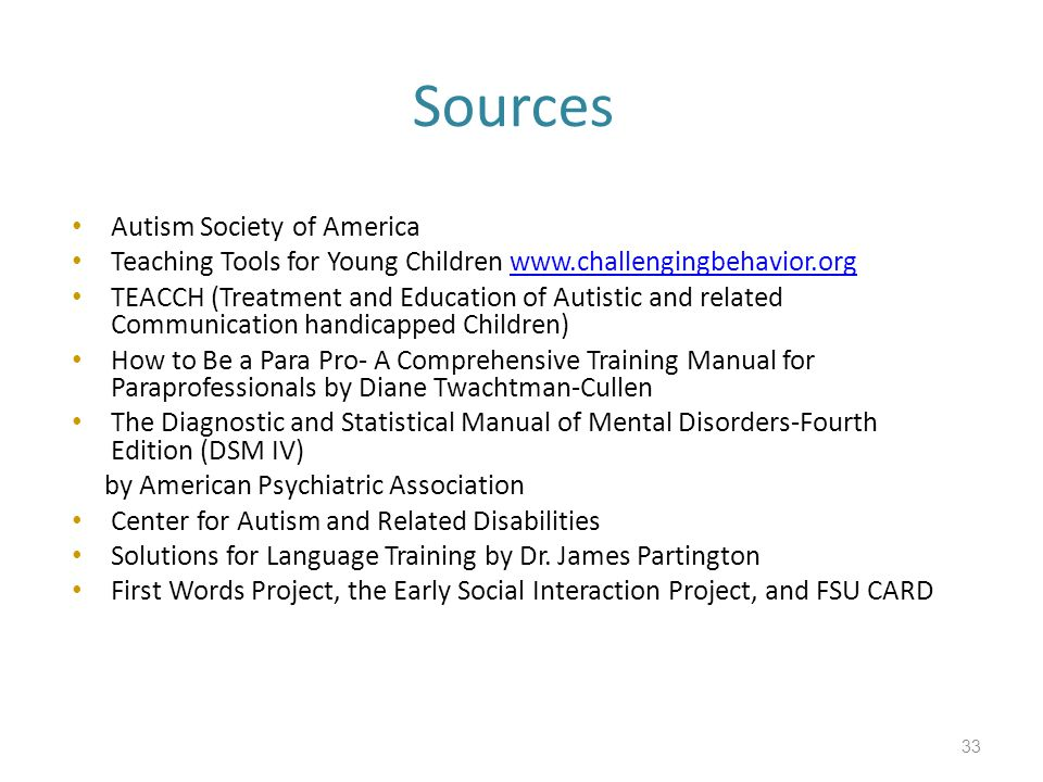 Sources Autism Society of America