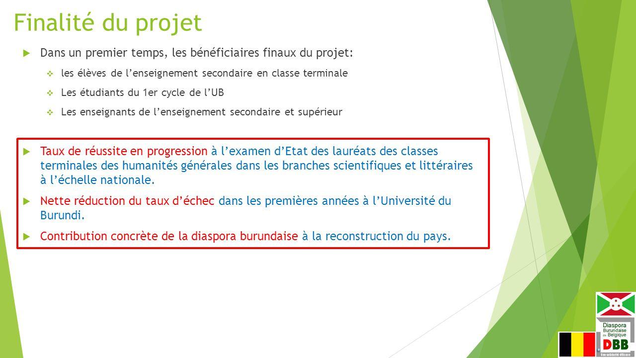 Finalité du projet Dans un premier temps, les bénéficiaires finaux du projet: les élèves de l'enseignement secondaire en classe terminale.