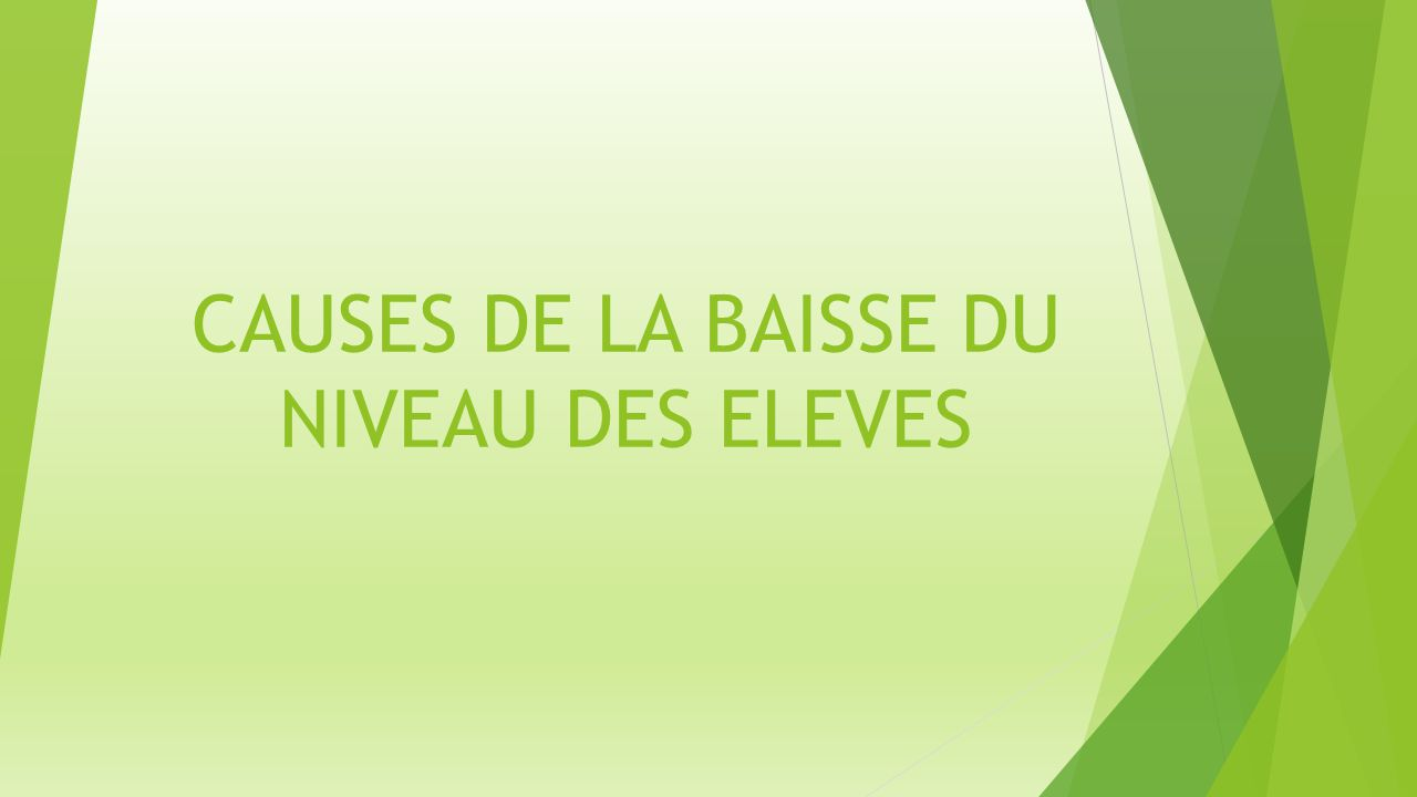 CAUSES DE LA BAISSE DU NIVEAU DES ELEVES