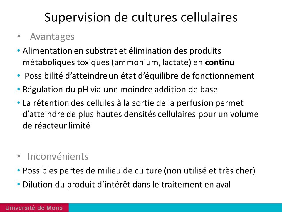 Supervision de cultures cellulaires