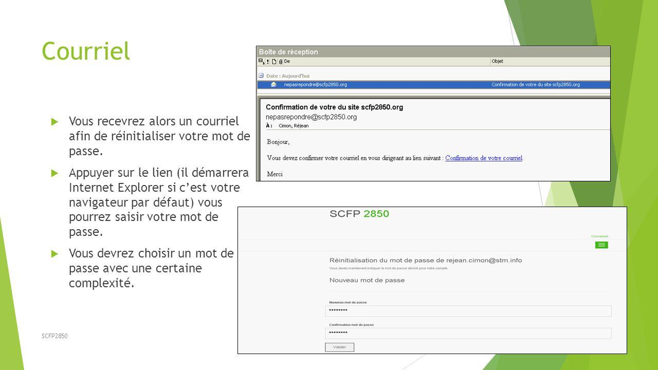 Courriel Vous recevrez alors un courriel afin de réinitialiser votre mot de passe.