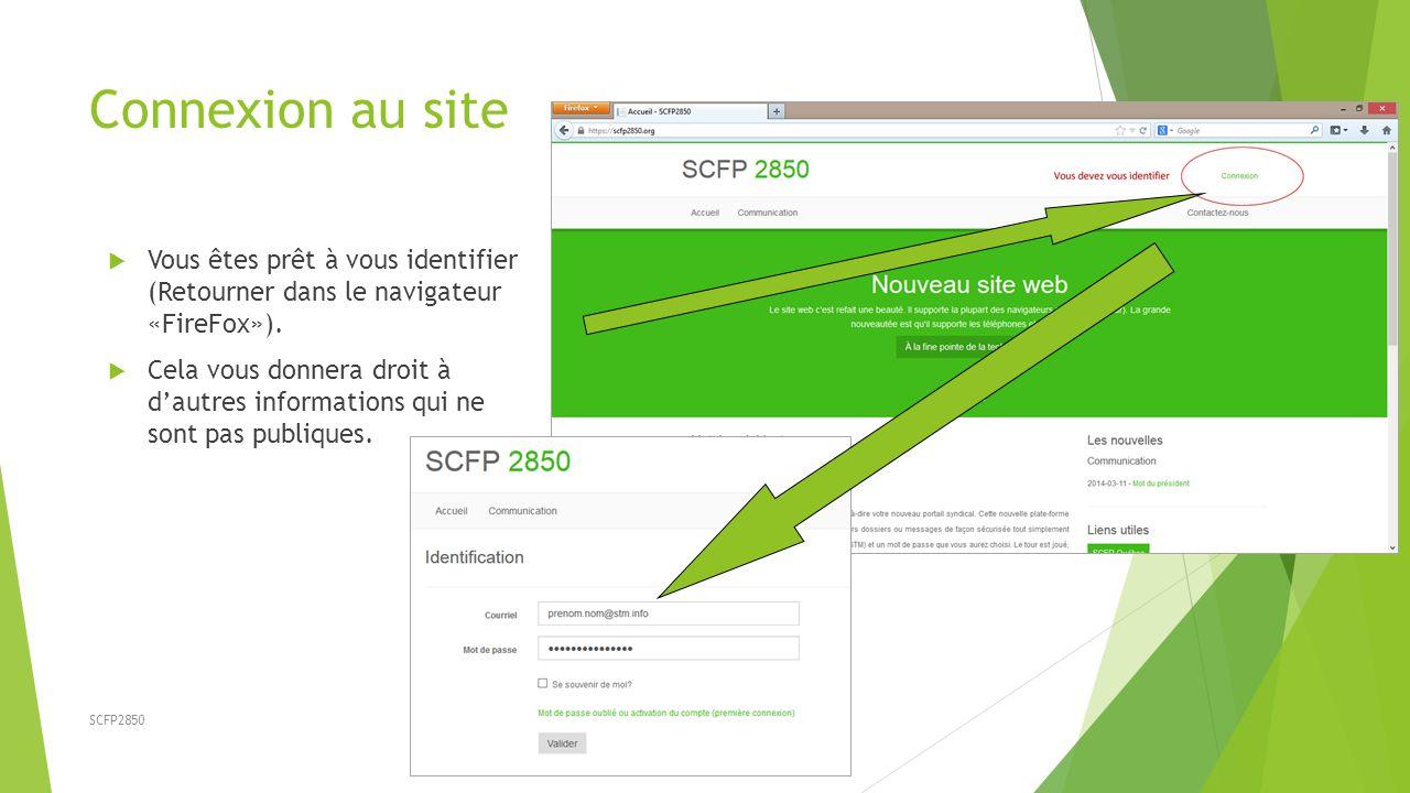 Connexion au site Vous êtes prêt à vous identifier (Retourner dans le navigateur «FireFox»).