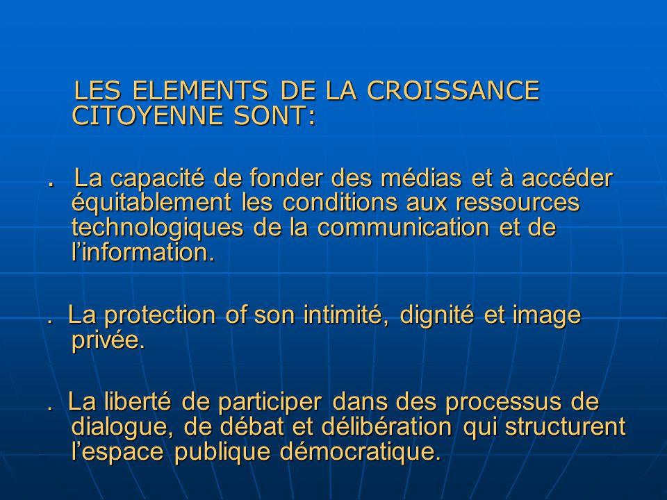 LES ELEMENTS DE LA CROISSANCE CITOYENNE SONT: