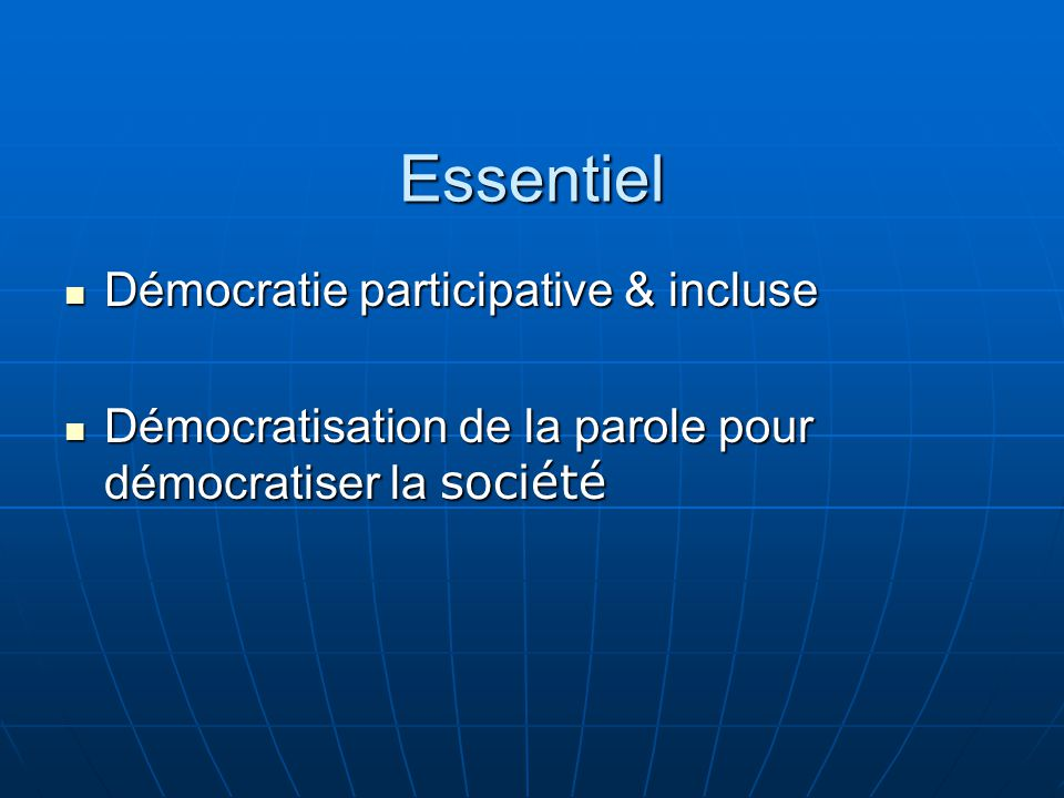 Essentiel Démocratie participative & incluse