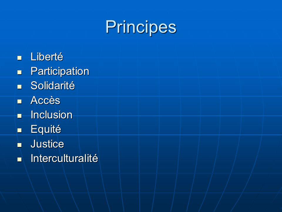 Principes Liberté Participation Solidarité Accès Inclusion Equité