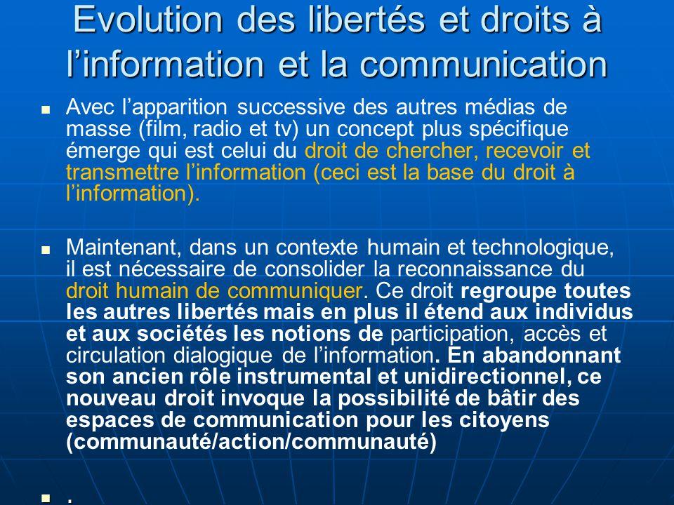 Evolution des libertés et droits à l'information et la communication