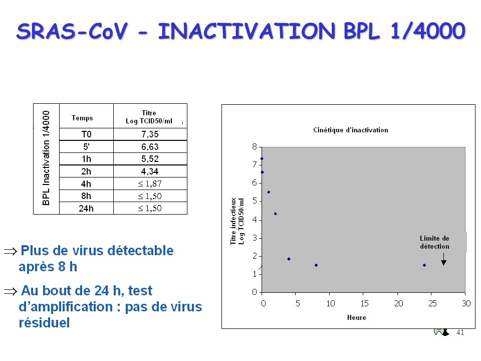 SRAS-CoV - INACTIVATION BPL 1/4000