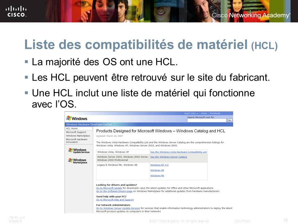 Liste des compatibilités de matériel (HCL)