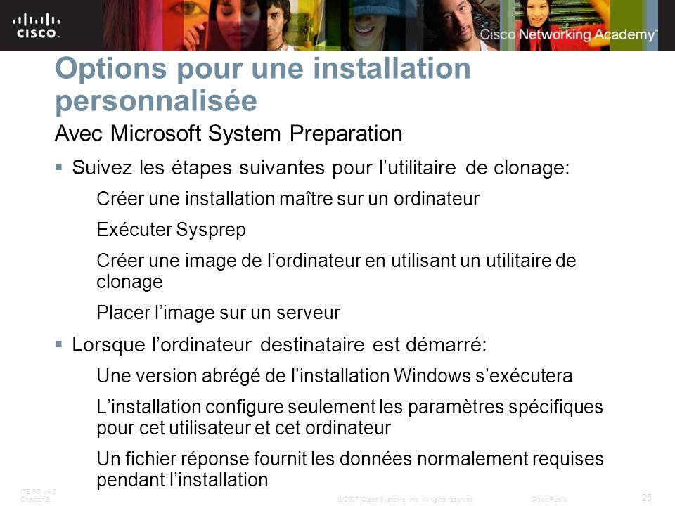Options pour une installation personnalisée