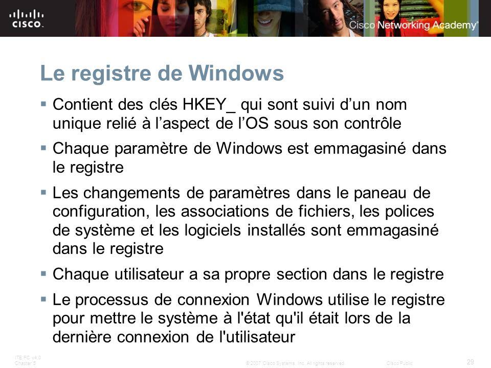 Le registre de Windows Contient des clés HKEY_ qui sont suivi d'un nom unique relié à l'aspect de l'OS sous son contrôle.