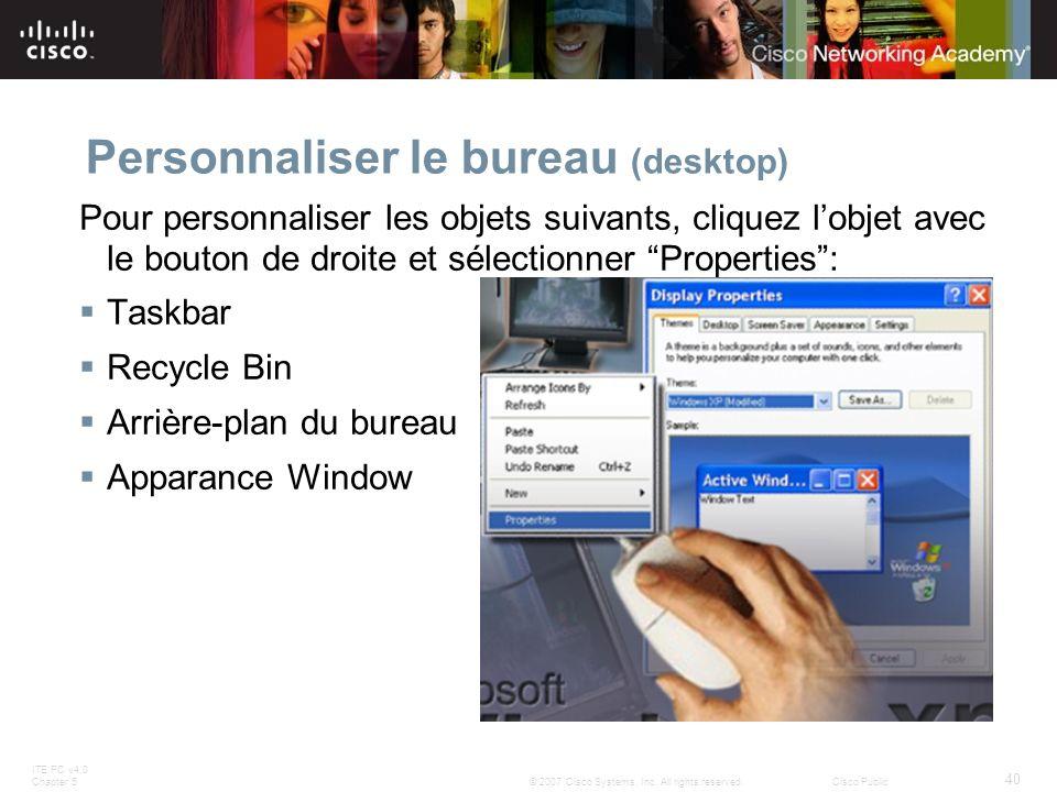 Personnaliser le bureau (desktop)