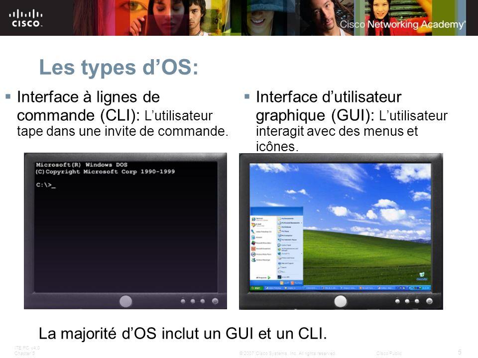 Les types d'OS:Interface à lignes de commande (CLI): L'utilisateur tape dans une invite de commande.