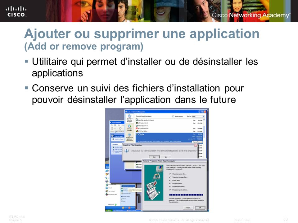 Ajouter ou supprimer une application (Add or remove program)