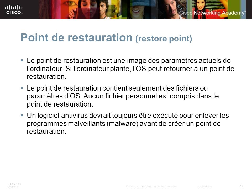 Point de restauration (restore point)