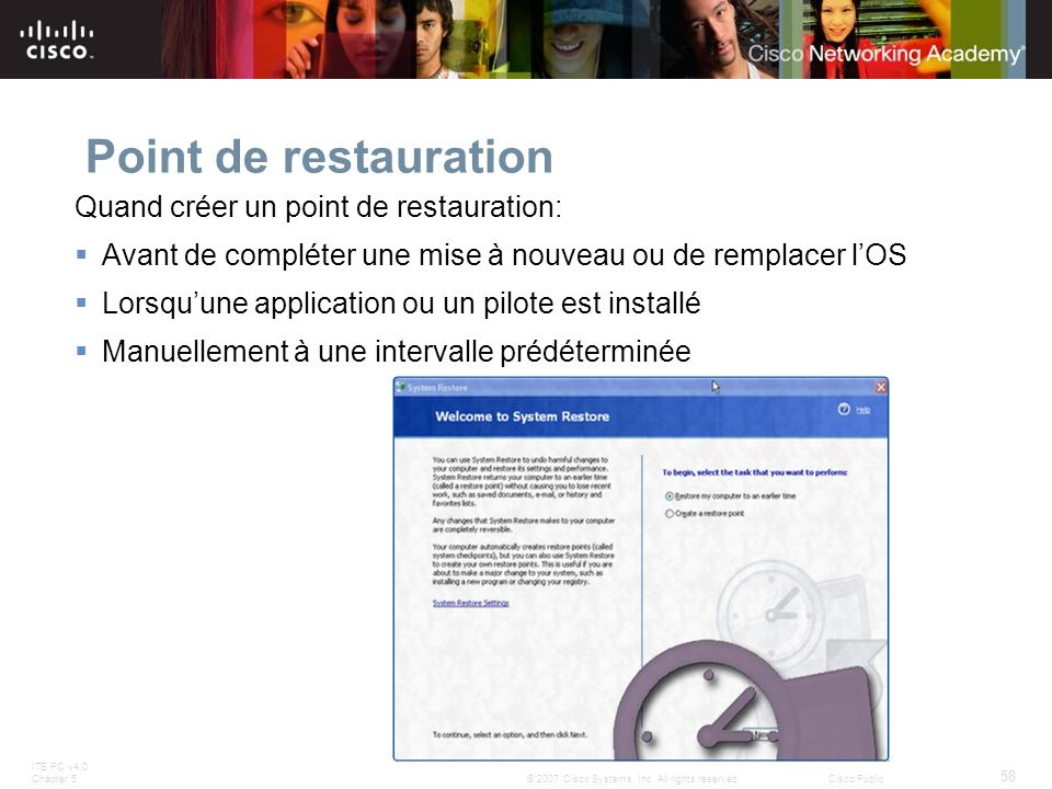 Point de restauration Quand créer un point de restauration: