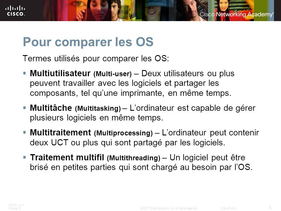 Pour comparer les OS Termes utilisés pour comparer les OS: