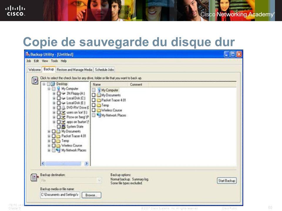 Copie de sauvegarde du disque dur