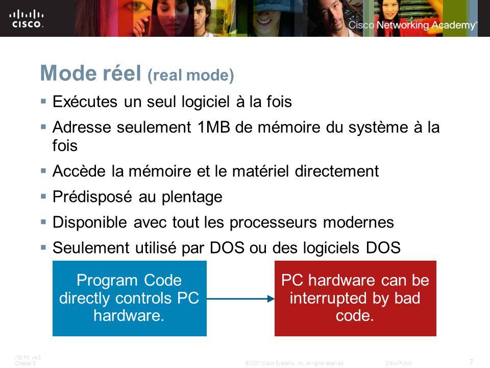 Mode réel (real mode) Exécutes un seul logiciel à la fois