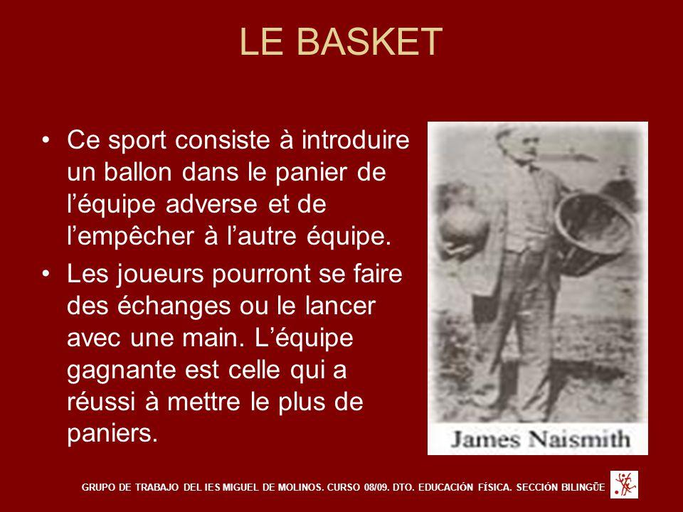LE BASKET Ce sport consiste à introduire un ballon dans le panier de l'équipe adverse et de l'empêcher à l'autre équipe.