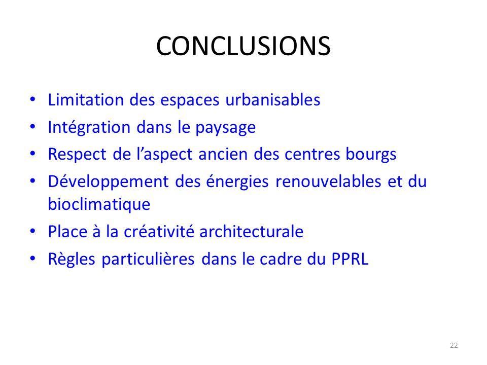CONCLUSIONS Limitation des espaces urbanisables