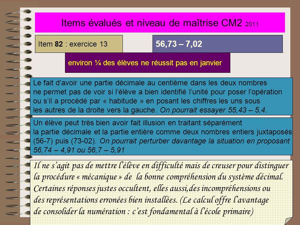 Items évalués et niveau de maîtrise CM2 2011