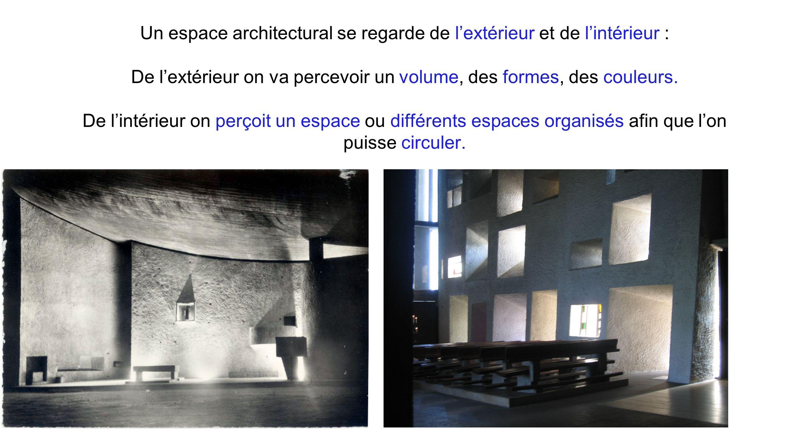 Un espace architectural se regarde de l'extérieur et de l'intérieur : De l'extérieur on va percevoir un volume, des formes, des couleurs. De l'intérieur on perçoit un espace ou différents espaces organisés afin que l'on puisse circuler.