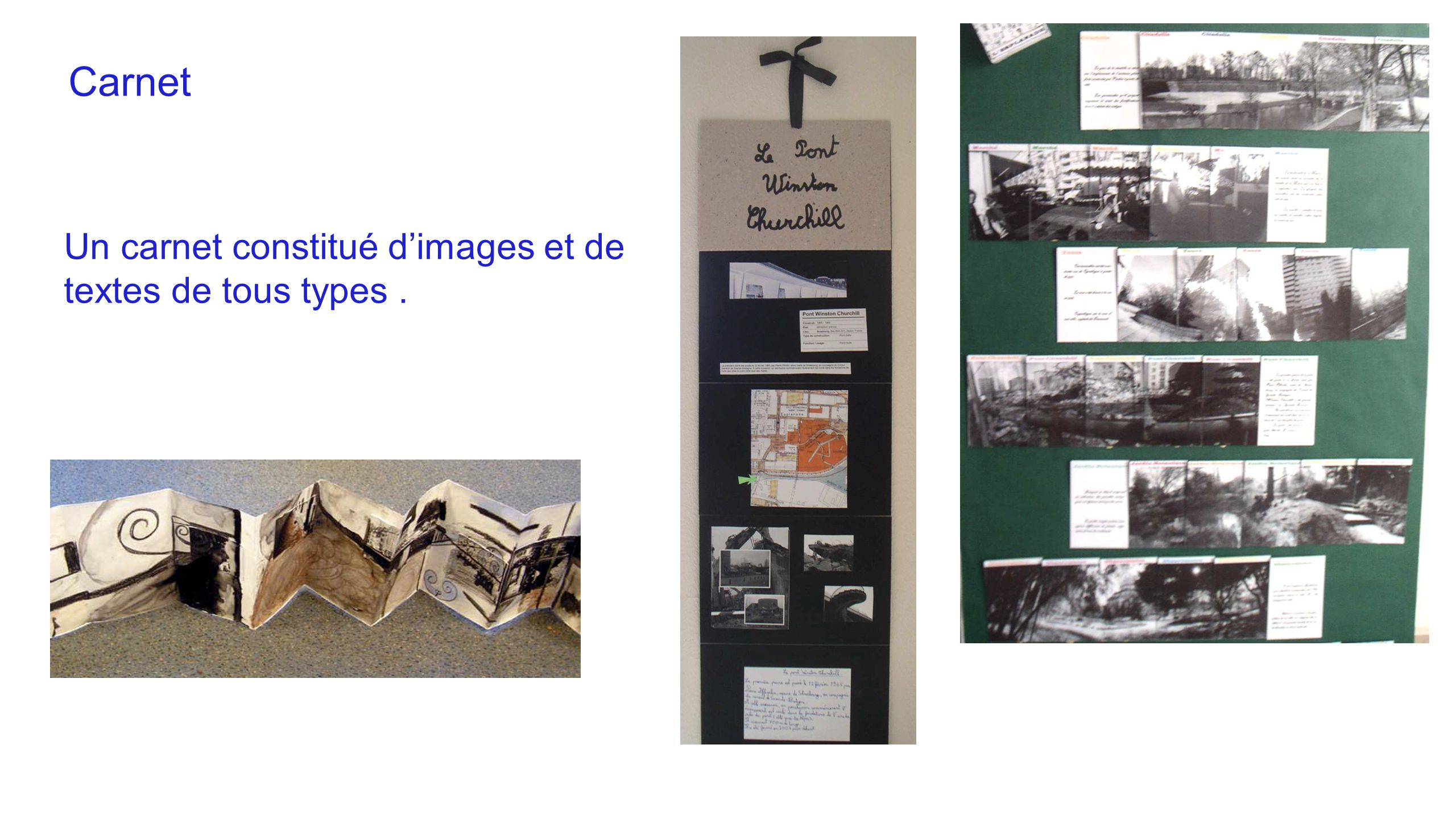 Carnet Un carnet constitué d'images et de textes de tous types .