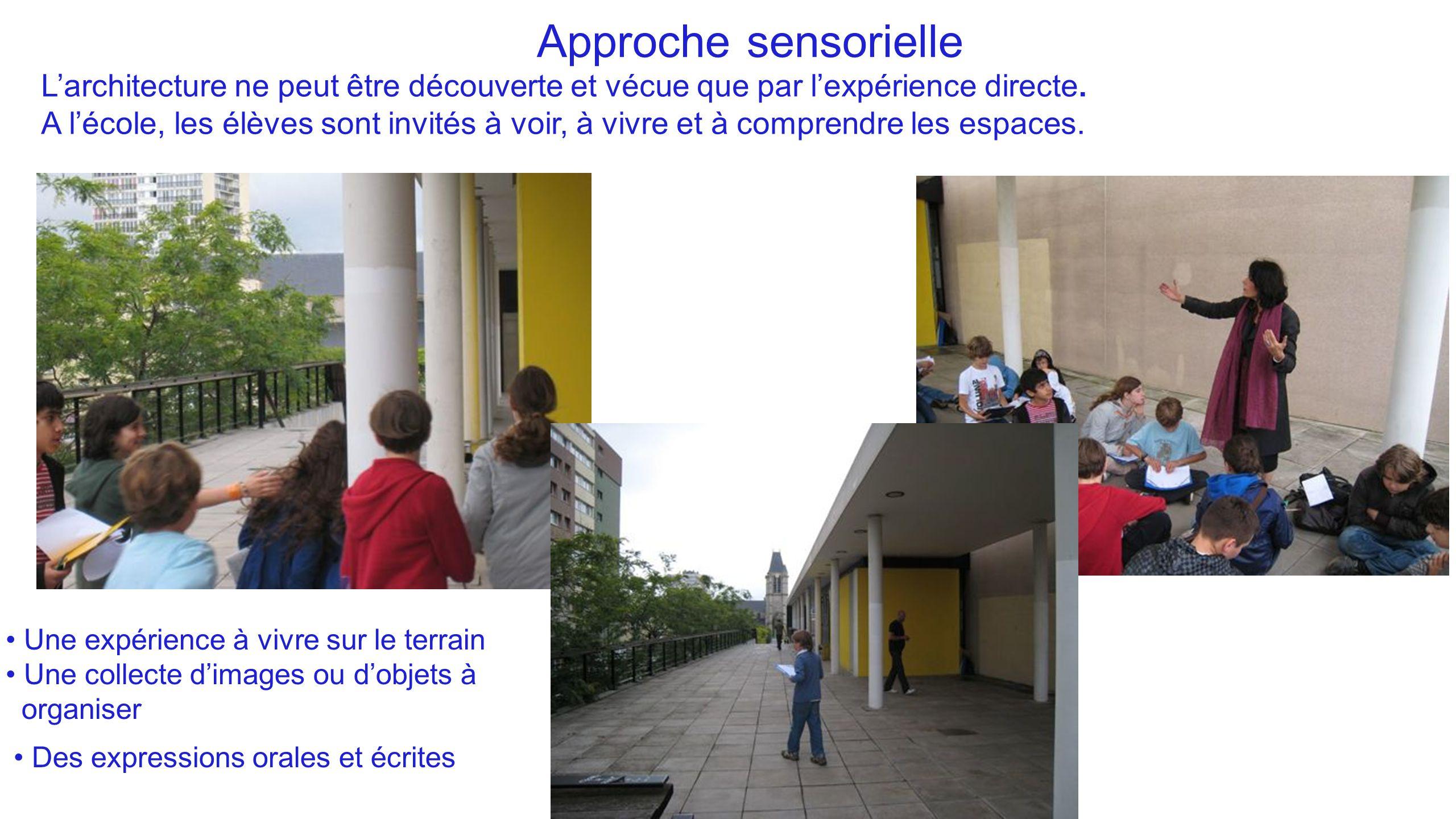 Approche sensorielle L'architecture ne peut être découverte et vécue que par l'expérience directe.