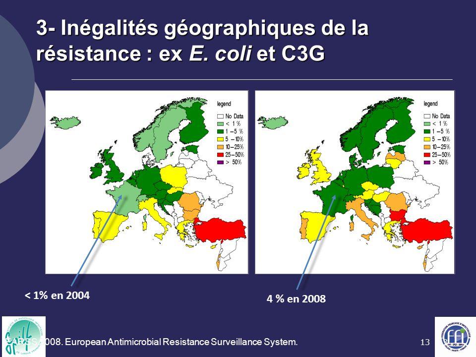 3- Inégalités géographiques de la résistance : ex E. coli et C3G