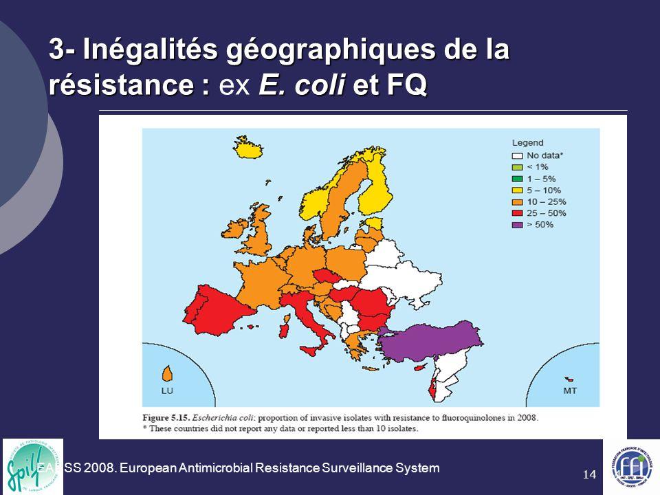 3- Inégalités géographiques de la résistance : ex E. coli et FQ