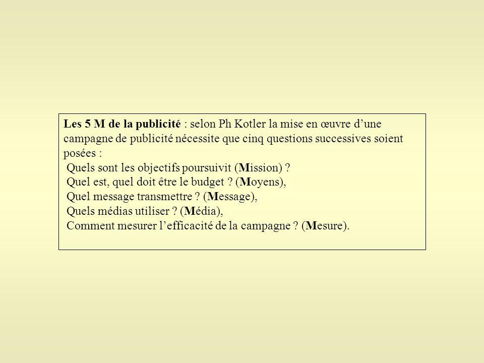 Les 5 M de la publicité : selon Ph Kotler la mise en œuvre d'une campagne de publicité nécessite que cinq questions successives soient posées :