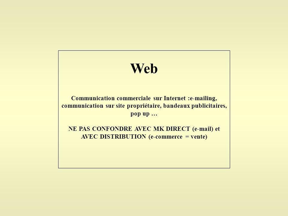 Web Communication commerciale sur Internet :e-mailing, communication sur site propriétaire, bandeaux publicitaires, pop up …